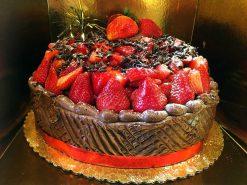 Chocolate Strawberry Shortcake 12inch-onelayer - dessertsbygerard.com