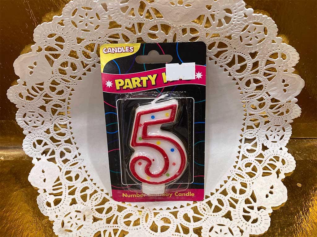 Number Candle - Five - dessertsbygerard.com