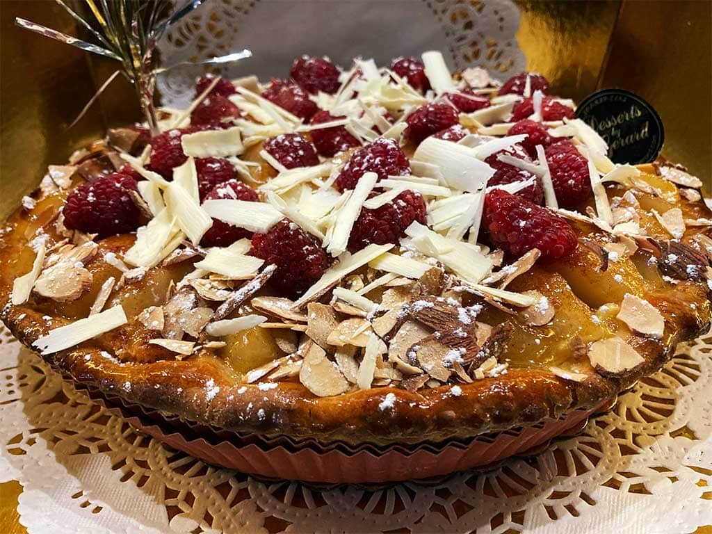 Pear Almond Raspberry Pie - dessertsbygerard.com