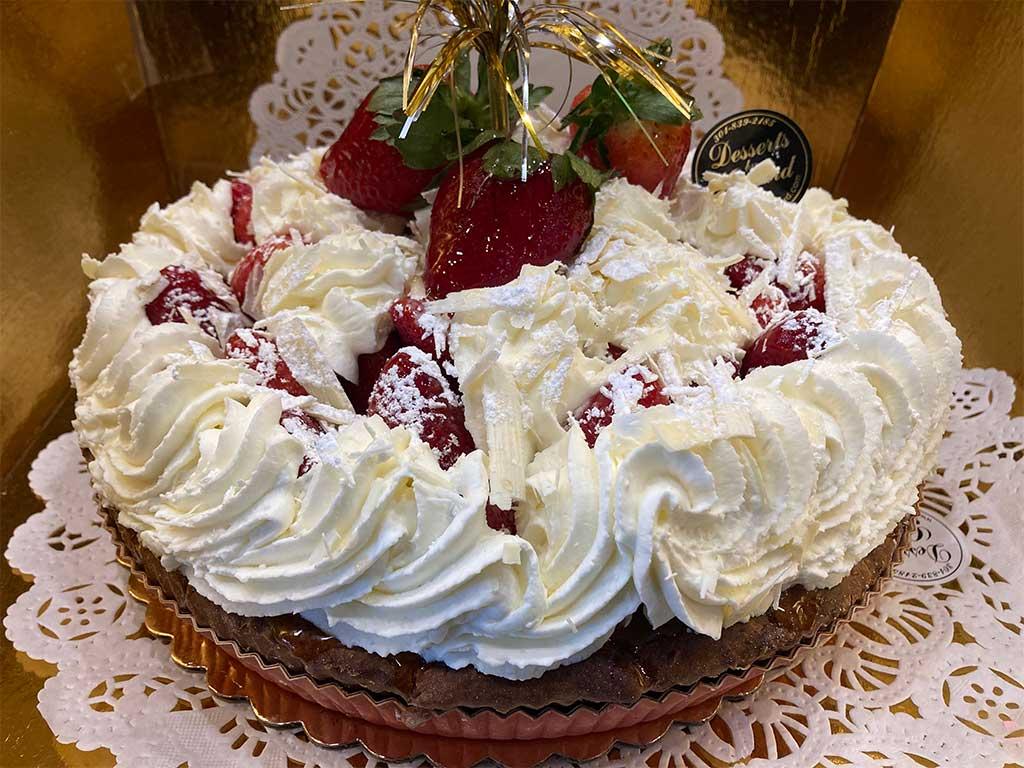 Baked Custard wih Strawberries and Whipped Cream - dessertsbygerard.com