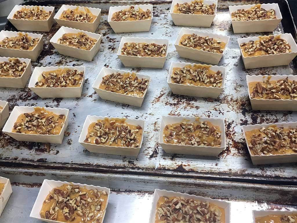 Sweet potato pear pecan mini loaves (unbaked prepared for the oven) - dessertsbygerard.com