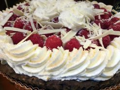 Pumpkin Custard Pie with Rum Cake Fresh Raspberries and Whipped Cream - dessertsbygerard.com