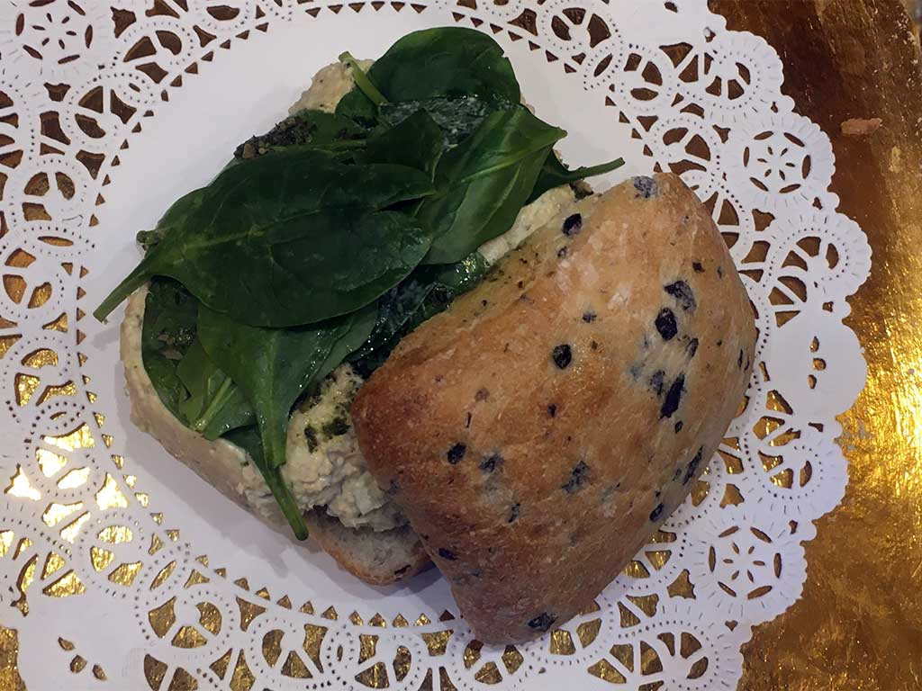Tuna Salad on Olive Bread with Spinach and Pesto Sauce - dessertsbygerard.com
