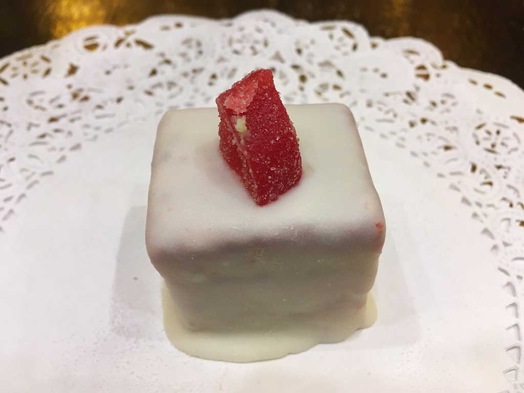 Vanilla Cake with Strawberry Buttercream Mini Pastry - dessertsbygerard.com