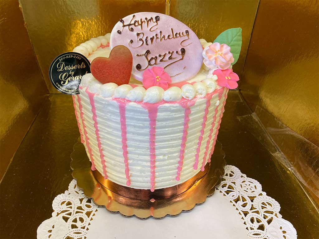 Vanilla Buttercrem Drip Cake - dessertsbygerard.com